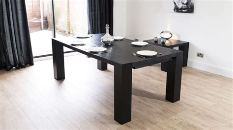 Black Extending Dining Table Black Ash Extending Dining Table For 6 14 Quilted Real Leather Chairs