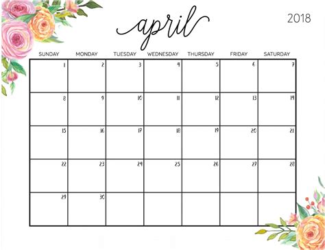 printable calendar 2018 with lines april 2018 calendar max calendars