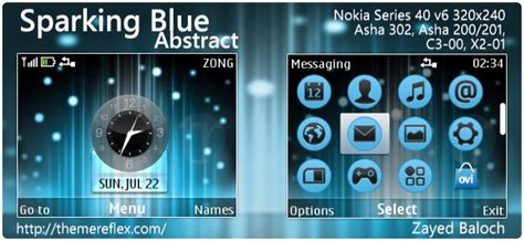 hd themes for nokia asha 302 sparking blue abstract theme for nokia asha 302 c3 00 x2