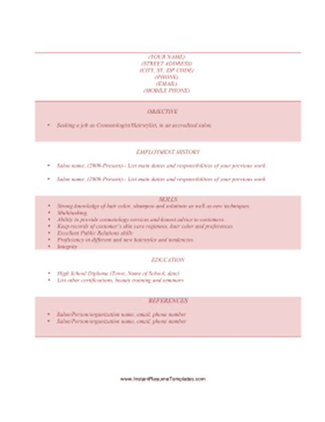Resume Templates Cosmetology Student Cosmetology Resume Template