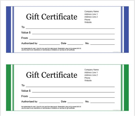 printable gift certificate templates microsoft office templates