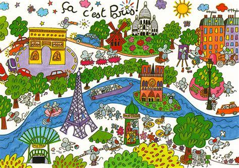 introduction of paris a traveller info france paris cartoon map postcard flickr photo sharing