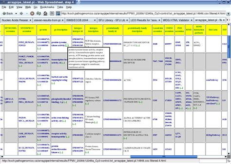 Web Based Spreadsheet by Arraypipe Documentation Annotation Through Probelynx