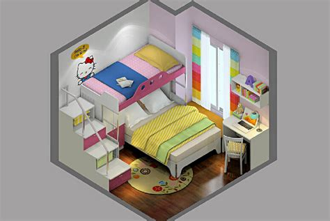 creative bunk beds 3d girls room with creative loft beds