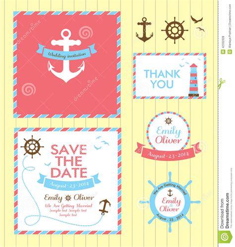 nautical themed wedding invitation template wedding invitation card nautical style stock vector