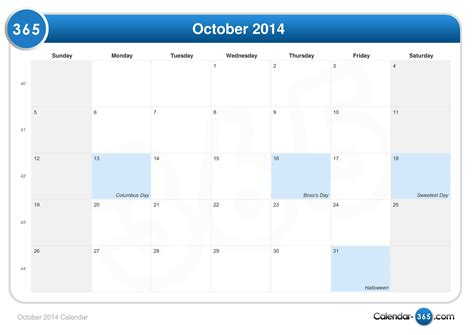 2014 October Calendar October 2014 Calendar