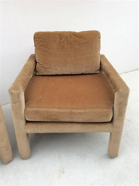 Drexel Heritage Chairs For Sale by Drexel Heritage Parsons Arm Lounge Club Chairs Camel Velvet Vintage Pair For Sale At 1stdibs