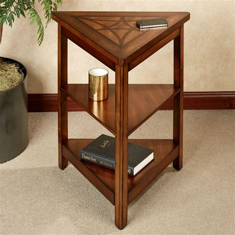 accent table with shelves brown stained teak wood triangle corner end table with two