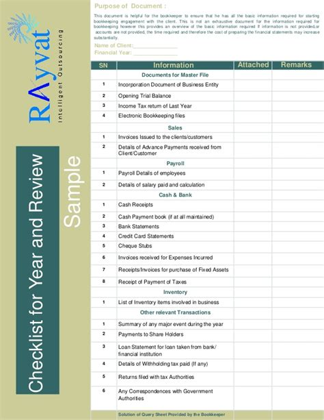 Bookkeeping Checklist Sle Accounting Checklist Template