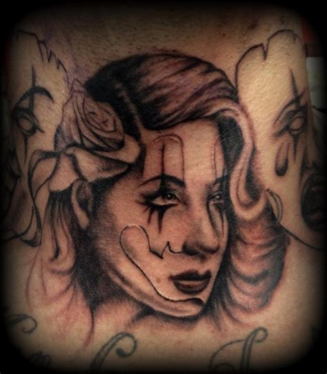 clown girl tattoo gangsta clown by slabzzz on deviantart