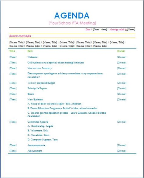 The 25 Best Meeting Agenda Template Ideas On Pinterest Team Meeting Agenda Effective Pta Website Template