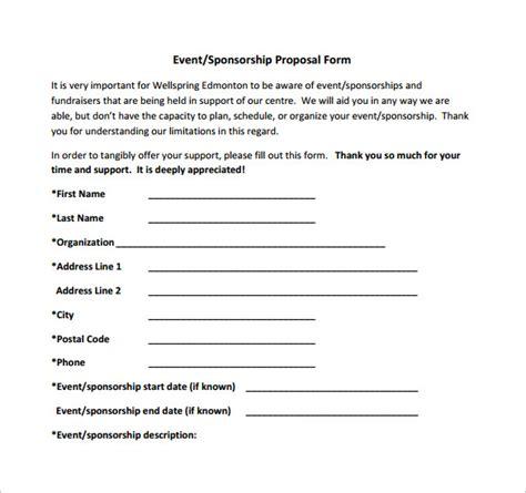 5 blank sponsorship form template retoi templatesz234