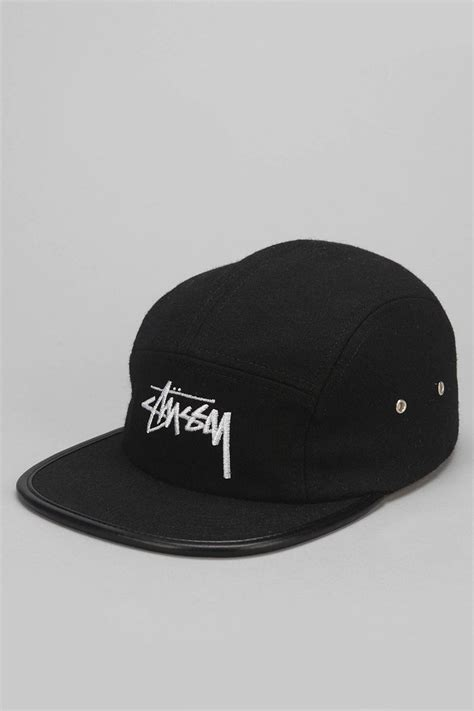 stussy melton wool 5 panel hat in black for lyst