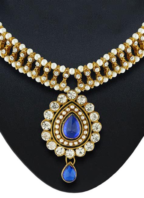 buy royal blue n white necklace set necklace