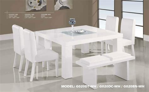contemporary white wood middle frosted glass dining table