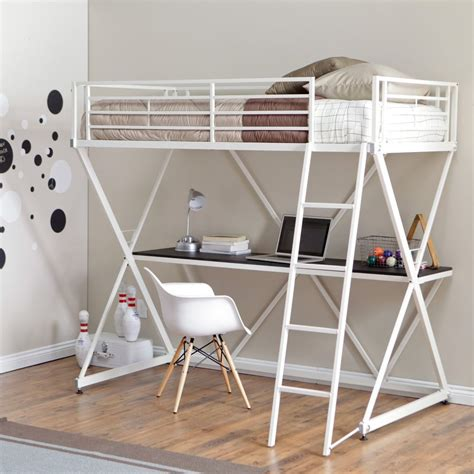 Modern Twin Size Bunk Bed Loft With Desk In White Metal White Metal Loft Bed With Desk