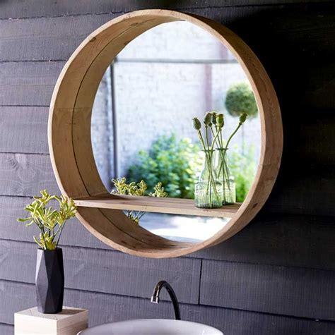 badspiegel rund mit ablage und holzrahmen ohne beleuchtung
