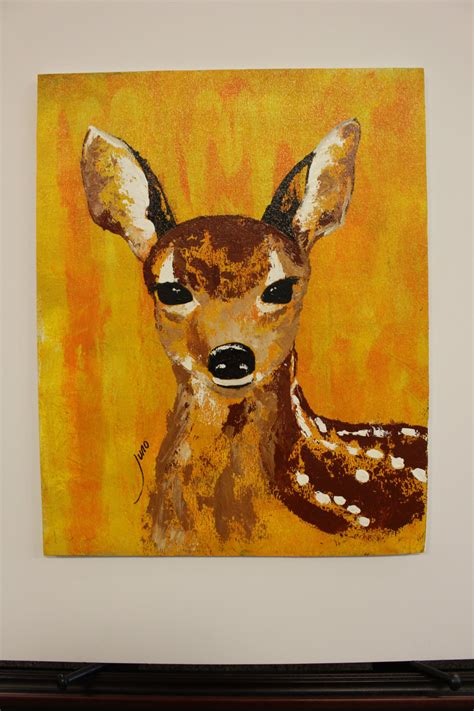 acrylic painting deer abstract fawn painting deer original wildlife acrylic