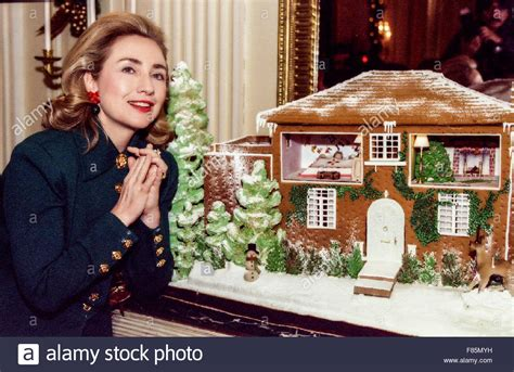hillary clinton house former first lady hillary clinton in front of a gingerbread house stock photo royalty