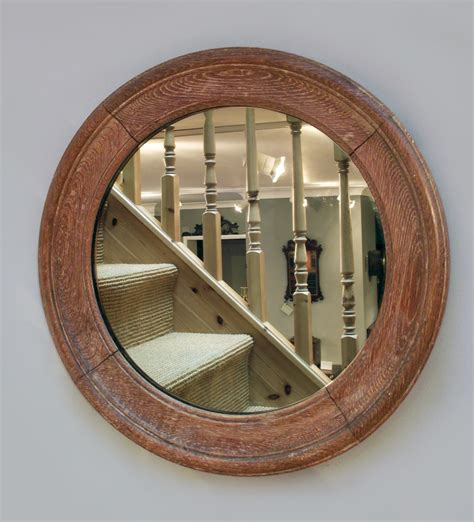 antique round oak mirror port hole mirror convex mirror