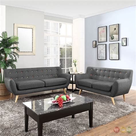 tufted living room set remark modern 2pc button tufted upholstered living room
