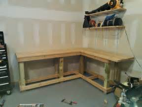 how to build a workshop bench cabinet shelving make your own garage workbench plans