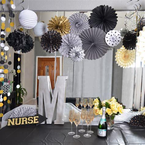 pack   graduation party decor set paper fan rosettes