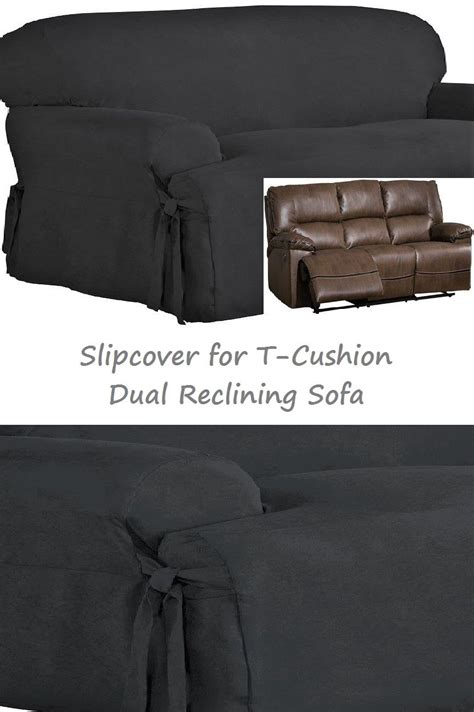 dual recliner sofa covers dual reclining sofa slipcover t cushion suede black sure