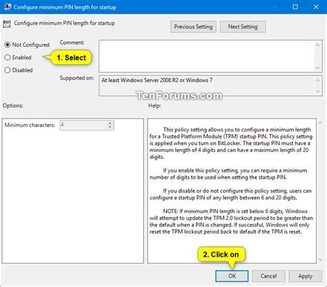 bitlocker tutorial windows 10 specify minimum pin length for bitlocker startup in