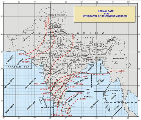 indian currents map normal date for withdrawal of southwest monsoon