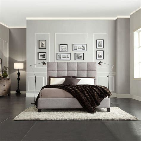 Bedroom With Grey Upholstered Bed Homesullivan Calais Grey Upholstered Bed 40885b322w