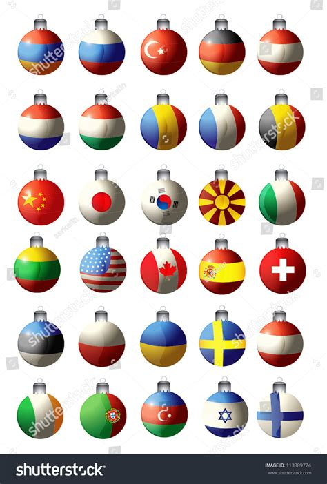 christmas toys flags  countries vector stock vector  shutterstock