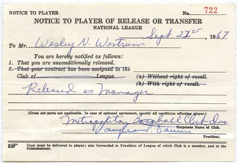 Release Letter To Manager sports memorabilia auction pristine auction