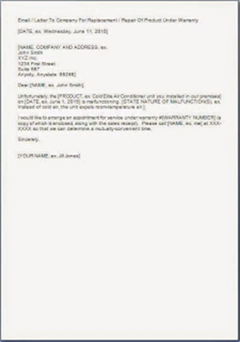 Guarantee Letter For Accommodation Sle Letter Requesting For Repair Warranty