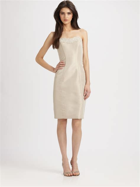 beige beaded cocktail dress theia strapless beaded cocktail dress in beige taupe lyst