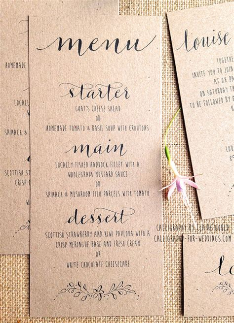 Wedding Announcement Which Name Goes by Kraft And Calligraphy Wedding Invitations From 163 2 By