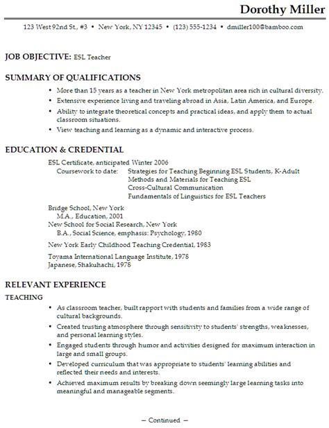 esl resume exles resume for an esl susan ireland resumes