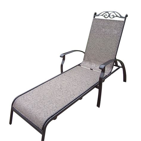 shop chaise lounge shop oakland living sling cast aluminum patio chaise