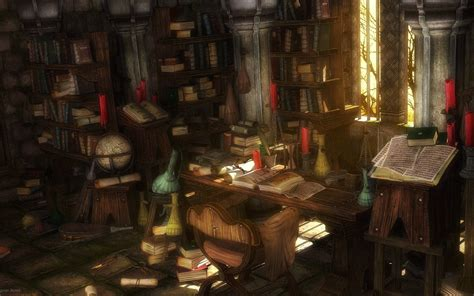 libro the skyrim library digital art fantasy art scenery desktop wallpaper nr 47810