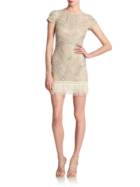 bead trim for dresses lyst aidan mattox beaded fringe hem dress in metallic
