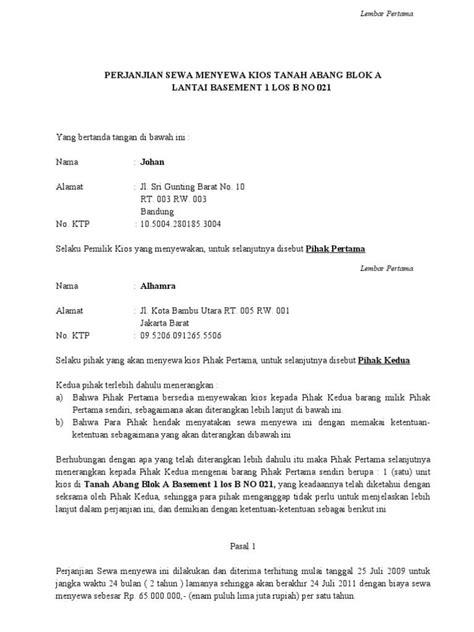 format surat kuasa sederhana contoh surat perjanjian kontrak rumah sederhana