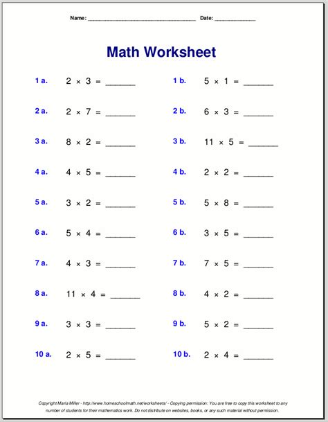 Table Ten by Multiplication Worksheets For Grade 3