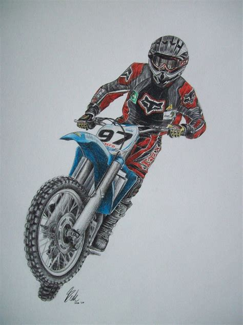 how to draw a motocross bike riding bike part 206