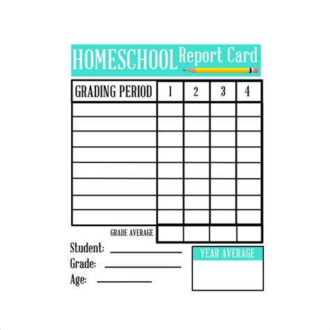 6 Sle Homeschool Report Cards Sle Templates Printable Report Card Template