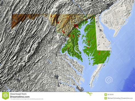 maryland map elevation maryland relief map royalty free stock photos image