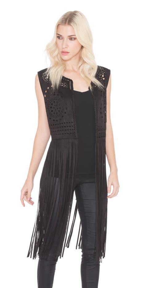 Adore Vest adore apparel suede fringe vest in black