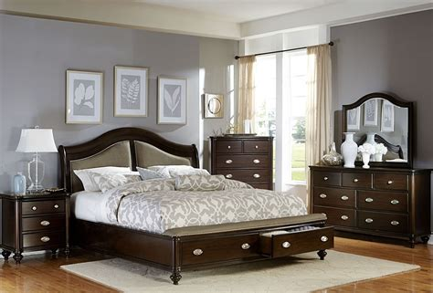 marston cherry platform storage bedroom set from