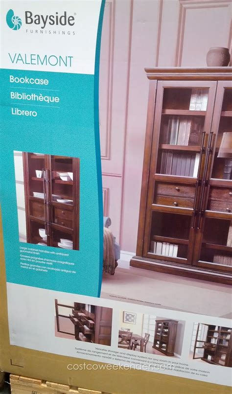 bayside furnishings valemont glass door bookcase costco