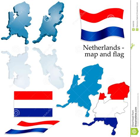 netherlands map and flag netherlands map and flag set stock photography image