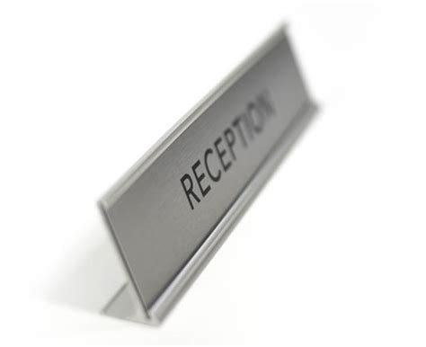 reception desk signs desktop reception sign satin silver reception desk sign